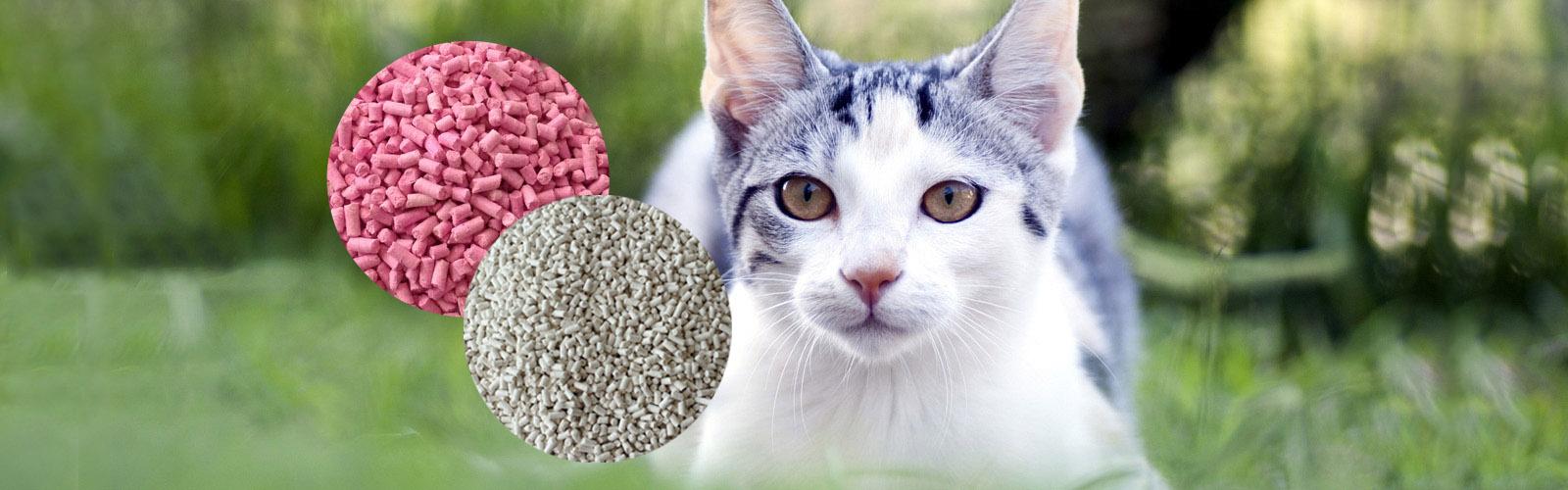我们的主要产品有植物猫砂、纸质猫砂等